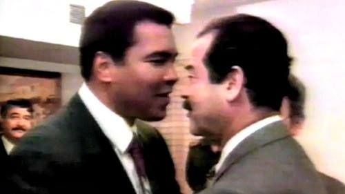 """In 1990, Muhammad Ali traveled to Iraq and successfully negotiated with Saddam Hussein the release of 14 U.S. citizens.   Ali went to Iraq at the invitation of the Iraqi government and he met with President Saddam Hussein, who reportedly told Ali that he would not allow him to leave empty-handed.   Ali said: """"I am happy to be involved, to be in a position to help."""""""