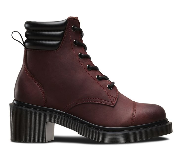 This 6-eye boot is inspired by hiking designs as well as the season's Buffalo style influence. The triple padded collar contrasts perfectly with the smooth, burnished leather upper – artfully distressed for a lived-in feel. Our signature air cushioned sole is raised onto a mid-height heel and welted, marking these out as a true Dr Martens style.