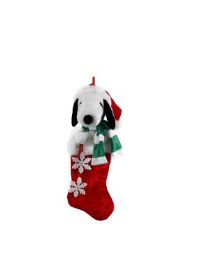 Kurt S. Adler 21-In. Snoopy Plush Head Stocking With Snowflake Dangles -  - One Size