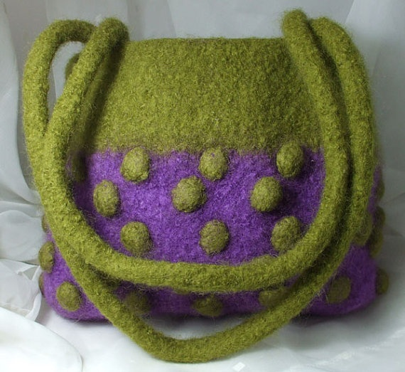 Felted Wool Bag purple green bobbles by Clasibags on Etsy, £34.00
