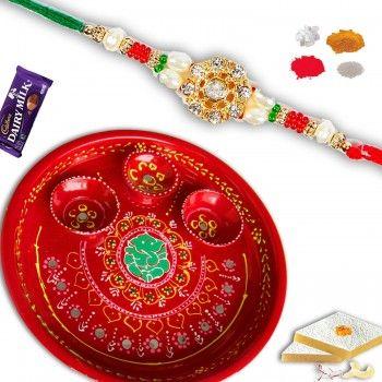 Traditional Decorated Thali with  Designer Rakhi