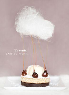 Amazing!! ' Un matin dans la brume ' : croustillant choco gavottes, dacquoise noisettes et sirop d'érable, panna cotta au poivre long de Java et barbe... #blanccoco #food #frenchfood