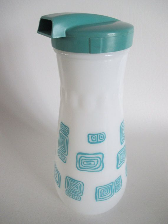 Mid Century Aqua Pitcher with Geometric by BeehiveBoutiques