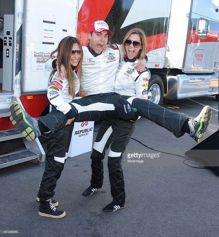 Actors Vanessa Marcil, Colin Egglesfield and Tricia Helfer arrive at press day for the 2014 Toyota Pro/Celebrity Race on April 1, 2014 in Long Beach, California.