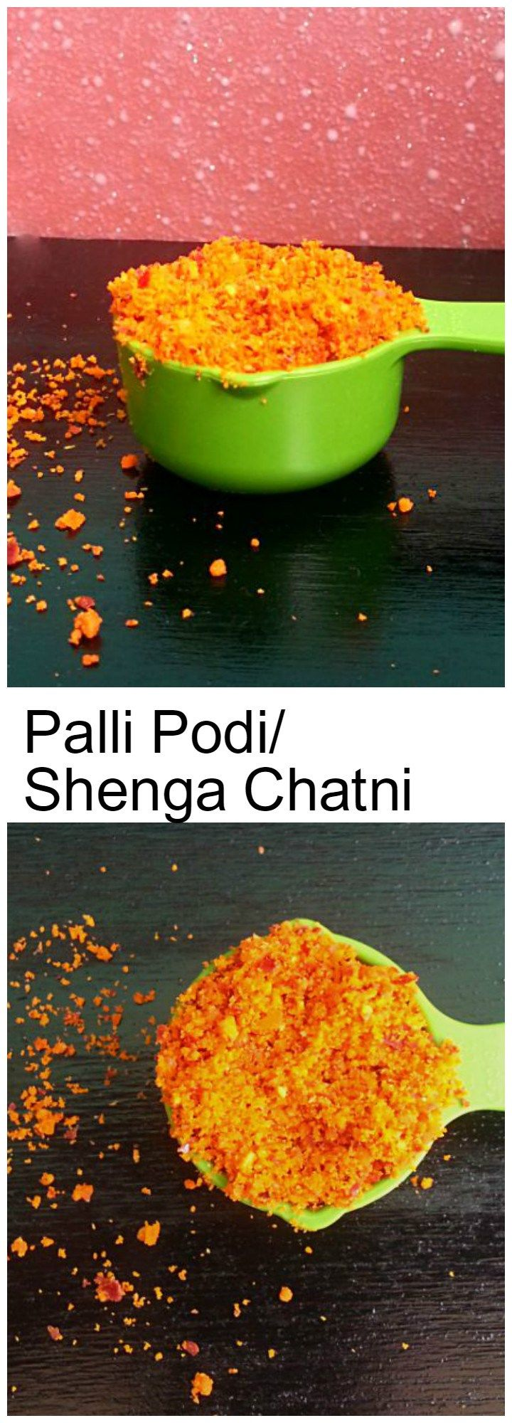 Palli Podi Andhra Style: Dry roasted and peeled peanut combined with other spices to make a tasty powder. It's anytime edible with roti/bhakri and rice.