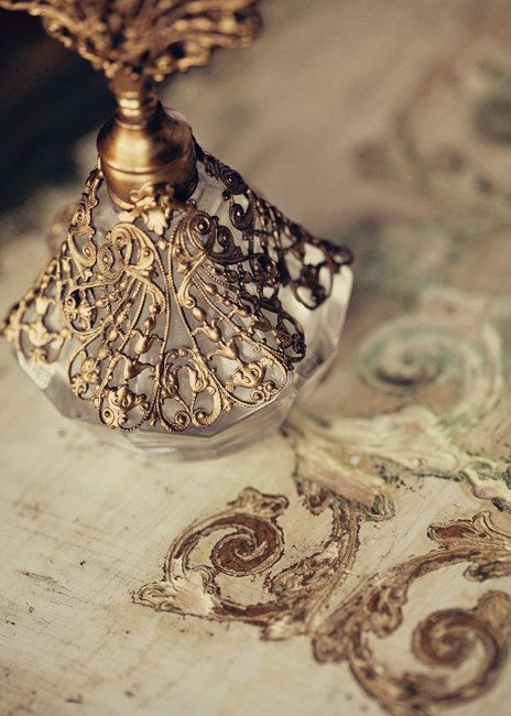5x7 Vintage Gold Filigree Perfume Bottle Shabby Chic by opus81, $14.00
