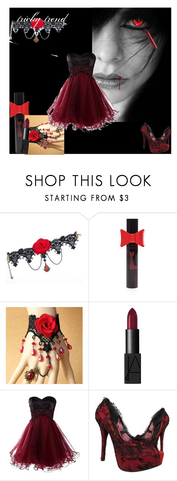 Bloody red (vampire) by vampire-kate on Polyvore featuring beauty, NARS Cosmetics, Hourglass Cosmetics and Dolce&Gabbana