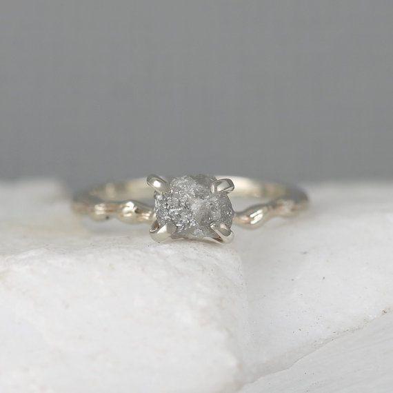 Twig Engagement Ring  Raw Uncut Rough Diamond by EngagedJewelry
