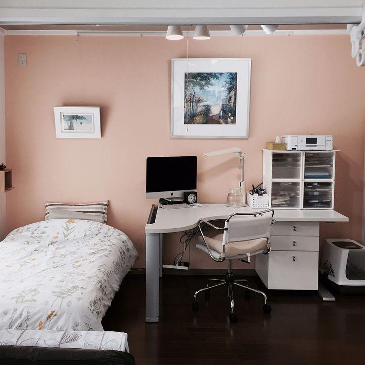 寝室×無印良品ベッドのインテリア実例 | RoomClip (ルームクリップ) Bedroom/IKEA/寝室/猫トイレ/ピクチャーレール/無印良品ベッド/