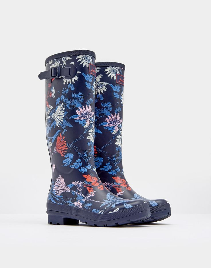 Printed French Navy Fay Floral Wellies  size 8 | Joules US