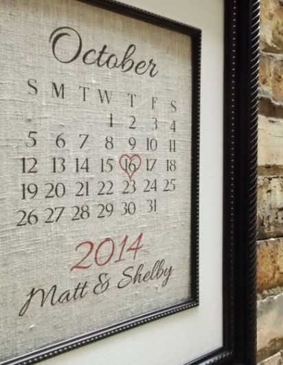 Traditional 2nd Second Wedding Anniversary Gift: Customized Cotton Wedding Anniversary Art Calendar Date by Lemon Milk Designs @ Etsy