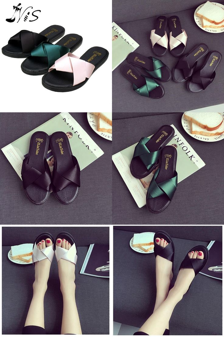 [Visit to Buy] NIS Women Summer Sexy Mules, Black/Green/Pink Stain Bowknot Slippers, Ladies New Design Sandals, Indoors Outdoors Zapatos Mujer #Advertisement