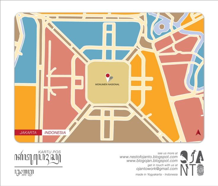 Indonesian City Maps Postcard Series (January 2013) | Jakarta - Indonesia | special spot : Monumen Nasional | Postcard Design by Ojan