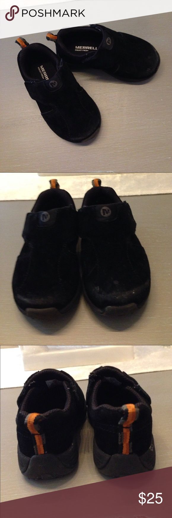 The BEST Merrell toddler suede shoes- 6.5 Fabulous quality Merrell jungle moc sport A/C black suede sneakers for toddler boys. Very high quality, well made shoe in great condition! These have  double Velcro closures so your little one can easily put them on and off himself. Thick, sturdy rubber soles with non slip tread. Very minor scuffing on tips that (see photo). My son only wore these only a few times so they are almost good as new. Size 6.5 Merrell Shoes