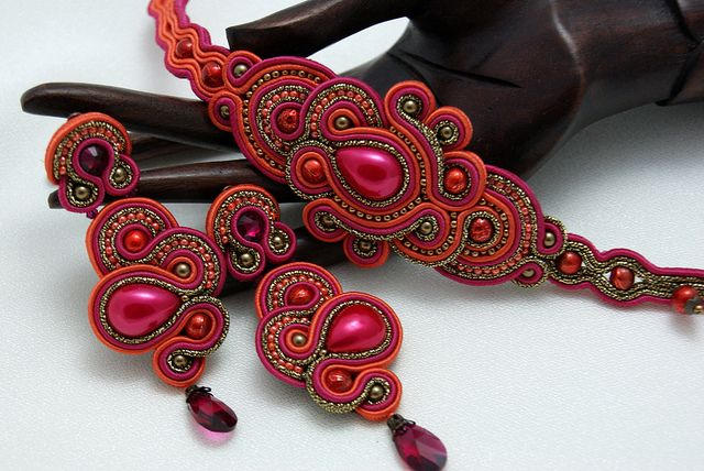 Soutache Bracelet and Ear Clips - Orange Kiss by BeadsRainbow, via Flickr