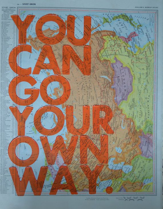 North America / You Can Go Your Own Way/ Letterpress by amyriceart