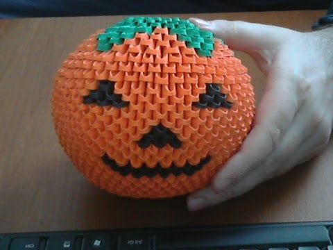 How to make 3d origami Halloween pumpkin model2 - YouTube