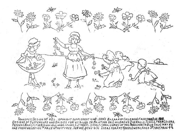 Old Fashioned Embroidery Little Girls Trees And Birds