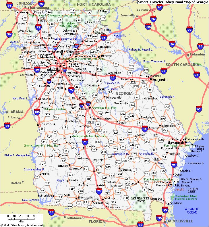 Map Of Georgia Showing Cities.Map Of Georgia Georgia Hotels Lodging Interstate Maps In