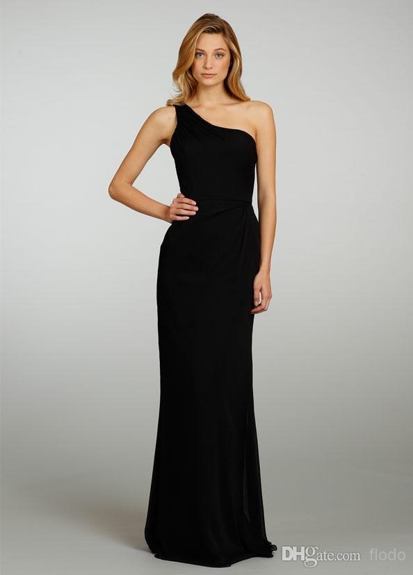 Cheap Cheap One Shoulder Black Chiffon Long Bridesmaid ...One Shoulder Black Prom Dresses