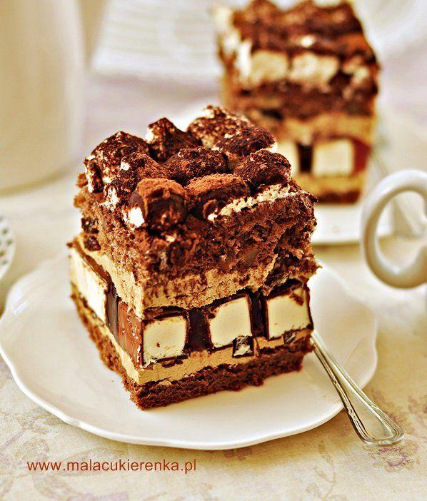 """Ciasto """"Dziwaczek"""" z bakaliami, ptasim mleczkiem i kremem kawowym"""