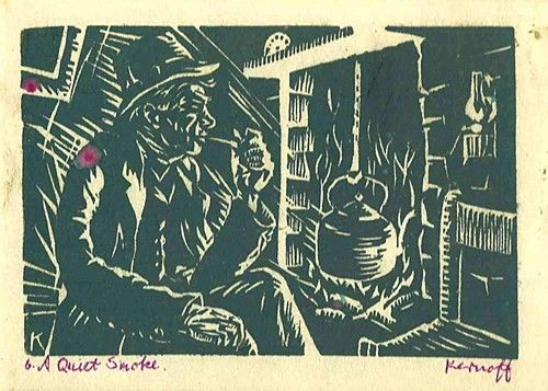 "Harry Kernoff, ""A Quiet Smoke"" #art #woodcut #blackandwhite #smoking #DukeStreetGallery"