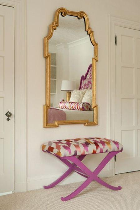 x benches: Colors Combos, Home Interiors, Gold Mirror, Apartment Design, Hotels Interiors, Interiors Design, Design Rooms, Design Home, Girls Rooms