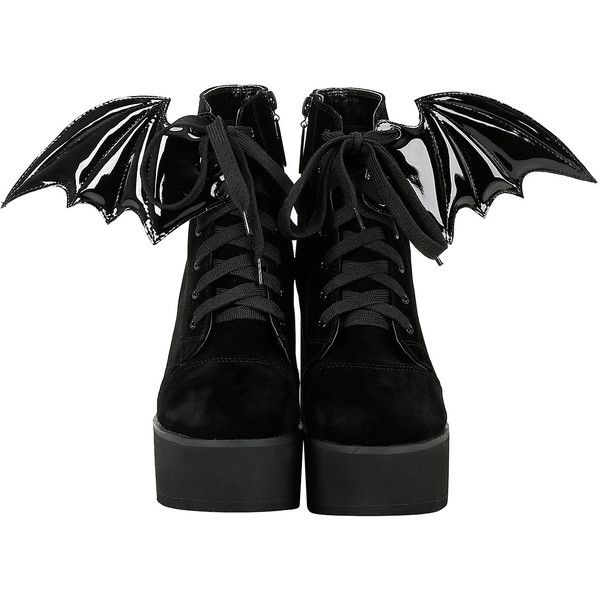 Iron Fist Velvet Bat Wing Bootie Hot Topic (74 CAD) ❤ liked on Polyvore featuring shoes, boots, ankle booties, black ankle booties, lace up booties, high heel ankle boots, black booties and high heel booties