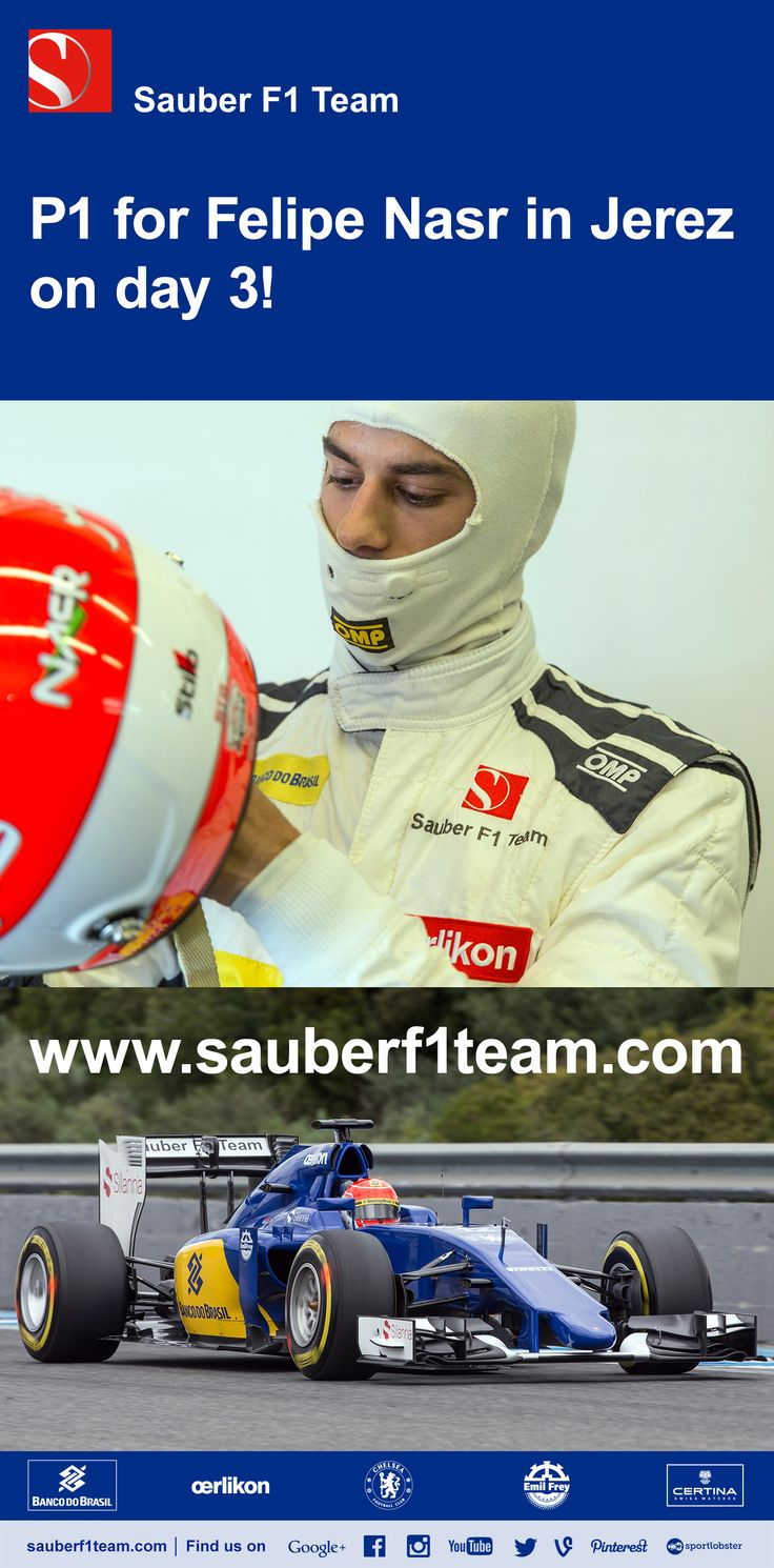 On day three of the test in Jerez it was again Felipe Nasr behind the wheel of the Sauber C34. With the track damp in the morning, he ran on wet tyres as well as on slicks to make some comparisons. With dry conditions in the course of the afternoon he used different dry compounds and set a best time of 1:21.545 min, which was the fastest of the day overall. - #SauberF1Team #SauberC34 #ME9 #FN12 #F1 #Formula1 #FormulaOne #Motorsport