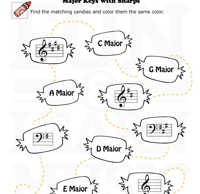17 Best Images About Music In Key Of C On Pinterest: Music-Worksheets-Key-Signatures-Major-Sharps-002