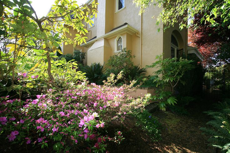 Springtime azaleas and rhododendrons paint the landscape of the Villa Marco Polo Inn