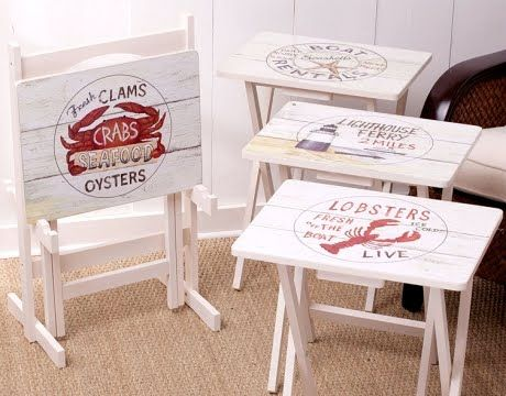 Painted TV Tray Tables with a beach theme, nautical theme, shell designs and more.