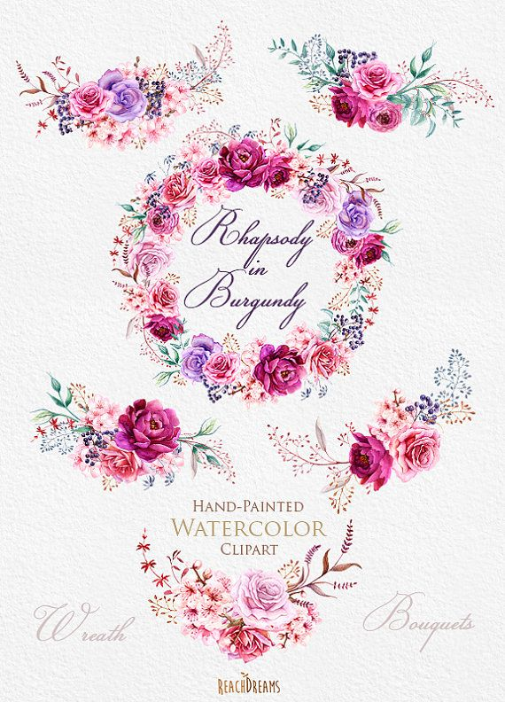 This set of high quality hand painted watercolor wreath and 5 bouquets. Flowers - Roses, Ranunculus, Peonies and herbs Perfect graphic for wedding