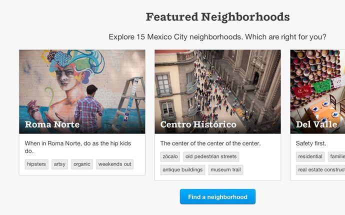 AirBnB carries cards over to all of their listings. If users are interested in a listing, they can explore more.