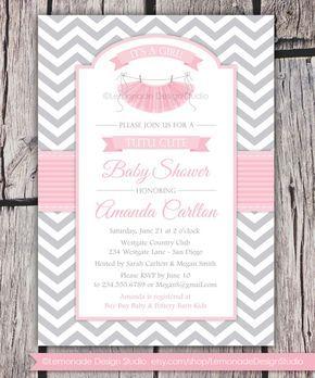 Tutú lindo bebé ducha invitación Chevron rosa gris Girl