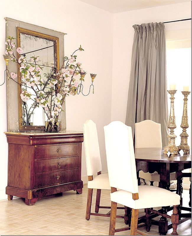 The Dining Room Featured Antique Furniture And A Trumeau With Beautiful Gray Silk Taffeta Curtains