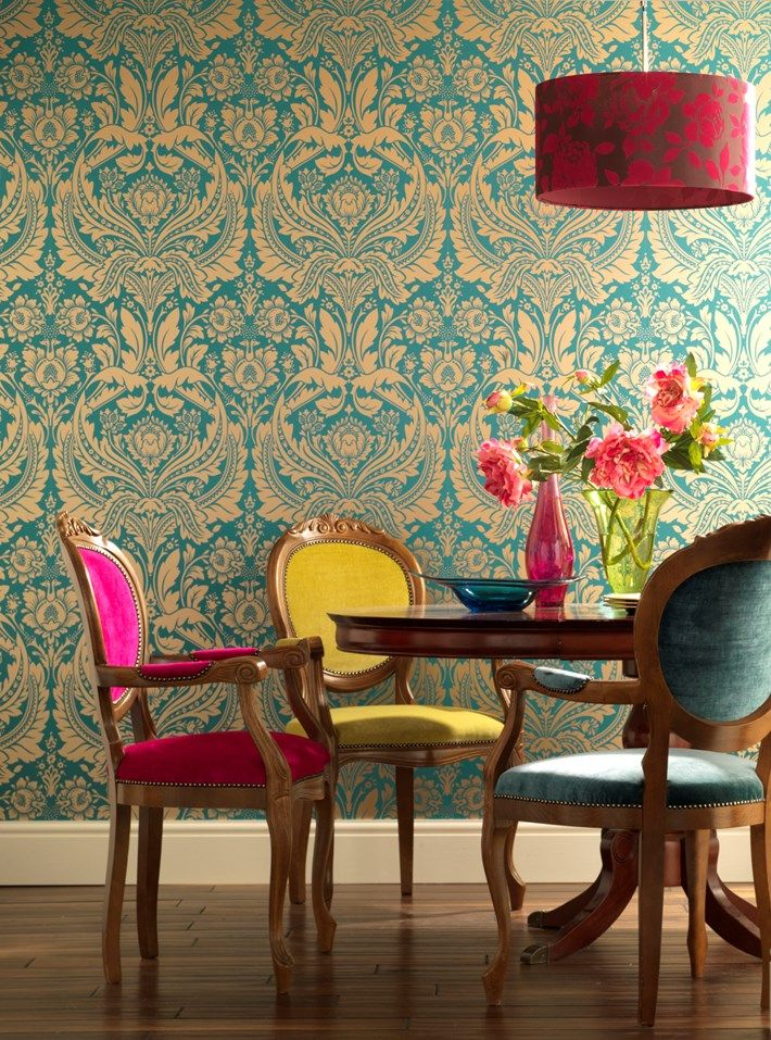 Desire Damask Wallpaper - Green Damask Wall Coverings by Graham  Brown