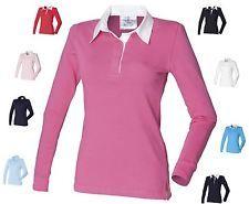 Womens Classic Rugby Shirt Plain Casual Top Ladies Long Sleeve Shirt Upto 4XL
