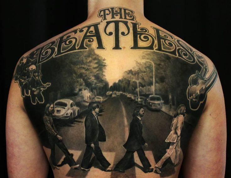 The Beatles Abbey Road Full Back Tattoo | Best tattoo design ideas