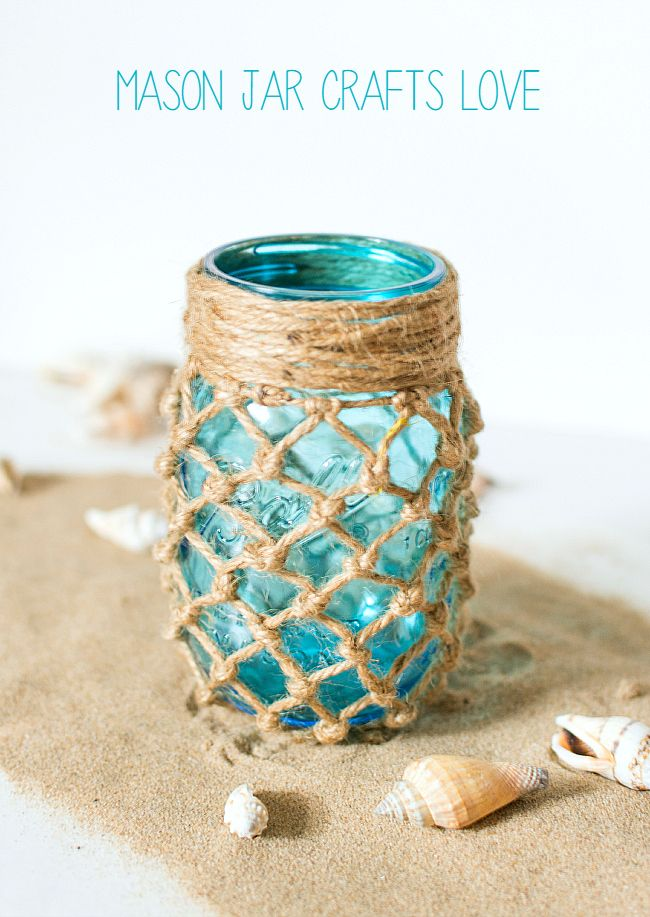 Fishnet Wrapped Mason Jar 12639 best Mason