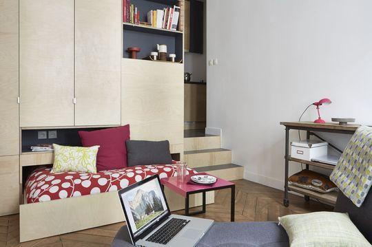 gagner de la place dans un appartement les bonnes id es lit tiroir studio tudiant paris et. Black Bedroom Furniture Sets. Home Design Ideas