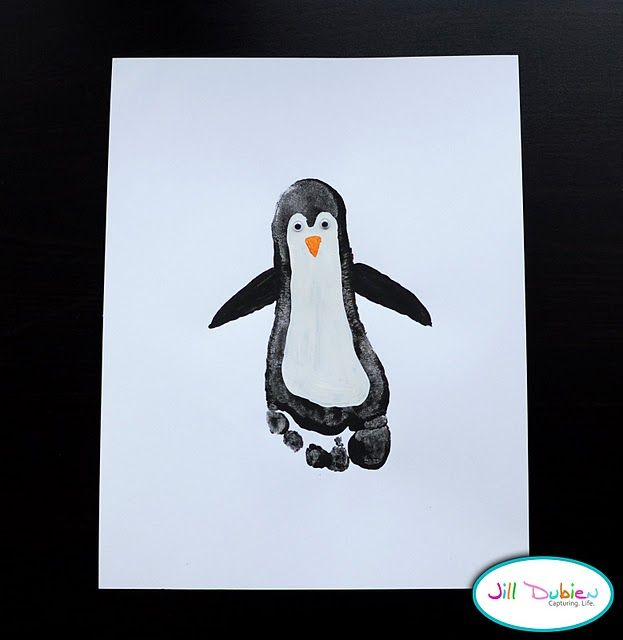 Footprint penguins-- so cute! Great idea for DIY Christmas cards!