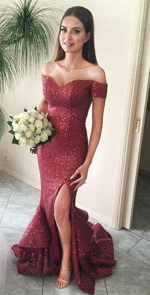 burgundy prom dresses,mermaid prom dresses,sequins prom dresses,split prom dresses,2017 prom dresses