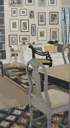 Cressida Campbell Interior-with-cat