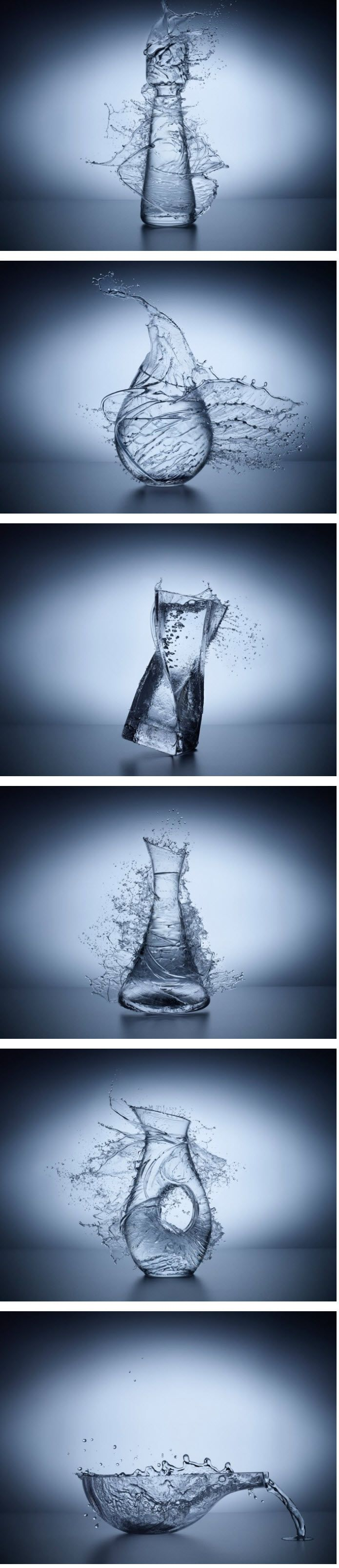 Jean Bérard. A highly conceptual photographer based out of Mexico.  This Liquid Glass series fools the eye in a unique and crafty way. The process is in a matter of strategic splashes of water that forms around the glass object. Http://www.jbfotografia.com