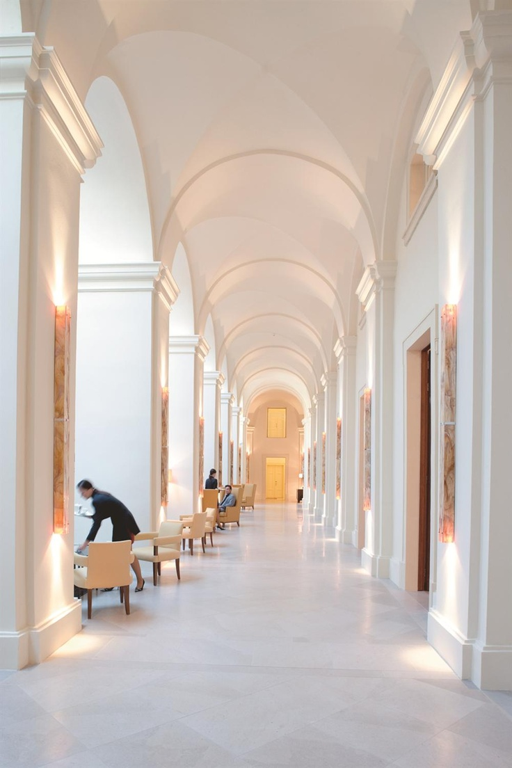The expansive halls of Mandarin Oriental Hotel in Prague, Czech Republic