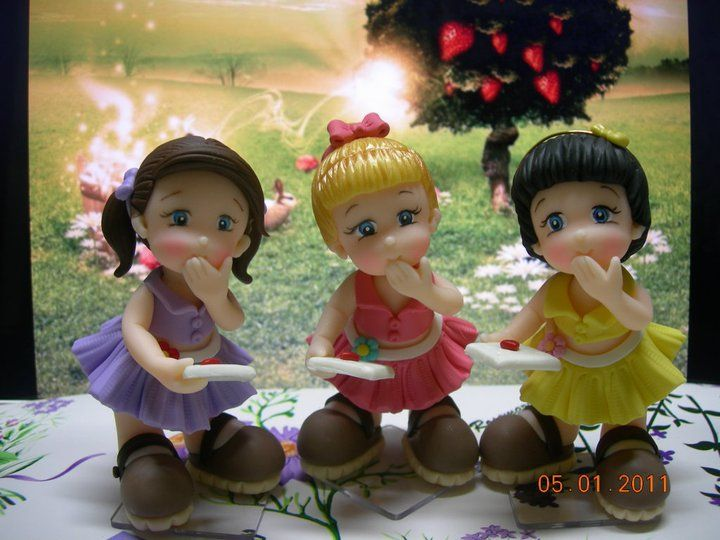 3 little Monkeys LOL porcelana fria polymer clay