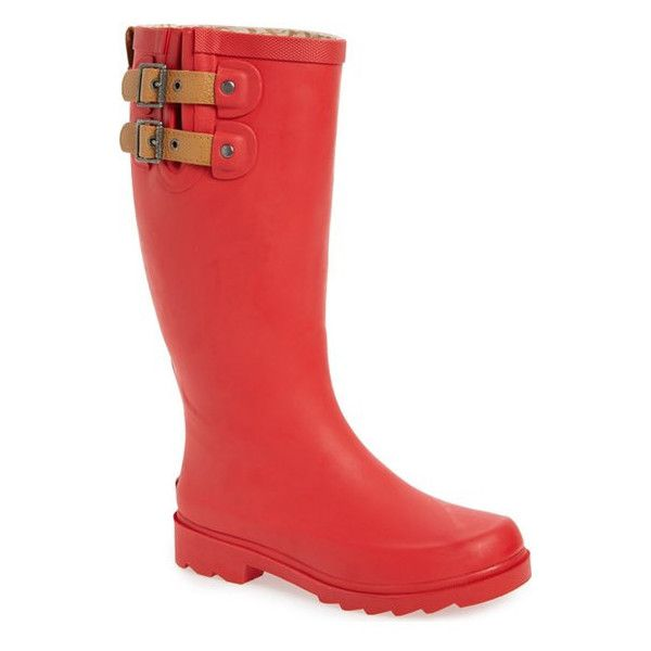 CHOOKA 'Top Solid' Rain Boot (€64) ❤ liked on Polyvore featuring shoes, boots, red, wellies boots, platform boots, leather rubber boots, rubber sole boots and leather wellington boots