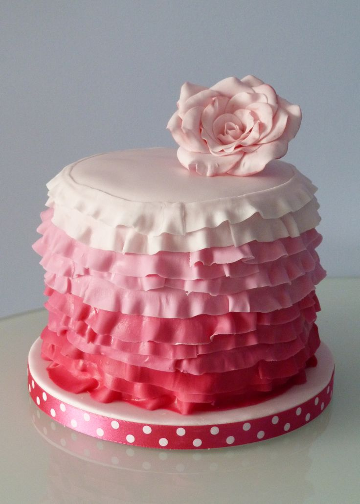 Pink ruffle cake -The cake itself is a 6inch round cake with 4 vanilla sponge layers. The layers are coloured using gel food colouring to match the colours I put around the edge of the cake. The rose on top is made from gumpaste.