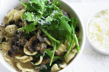 Orecchiette pasta with mushrooms, spinach and pecorino